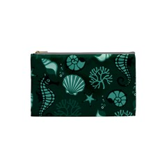 Vector Seamless Pattern With Sea Fauna Seaworld Cosmetic Bag (small)