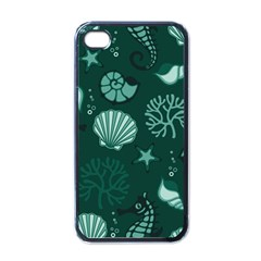 Vector Seamless Pattern With Sea Fauna Seaworld Apple Iphone 4 Case (black)
