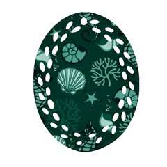 Vector Seamless Pattern With Sea Fauna Seaworld Oval Filigree Ornament (two Sides)