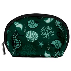 Vector Seamless Pattern With Sea Fauna Seaworld Accessory Pouches (large)