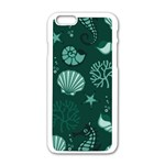 Vector Seamless Pattern With Sea Fauna Seaworld Apple iPhone 6/6S White Enamel Case Front