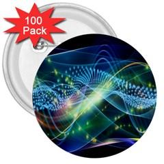 Waveslight Chevron Line Net Blue 3  Buttons (100 Pack)