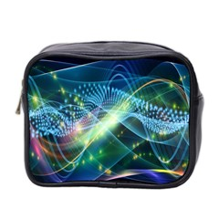 Waveslight Chevron Line Net Blue Mini Toiletries Bag 2 Side