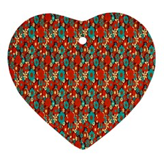 Surface Patterns Bright Flower Floral Sunflower Ornament (heart)
