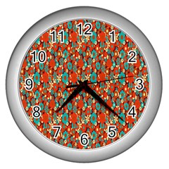 Surface Patterns Bright Flower Floral Sunflower Wall Clocks (silver)