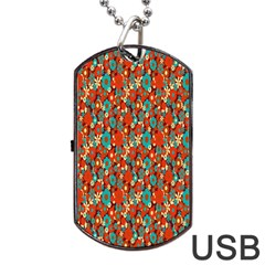 Surface Patterns Bright Flower Floral Sunflower Dog Tag Usb Flash (two Sides)