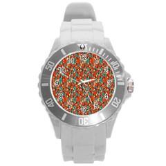 Surface Patterns Bright Flower Floral Sunflower Round Plastic Sport Watch (l)