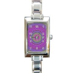 Art Mandala Design Ornament Flower Rectangle Italian Charm Watch