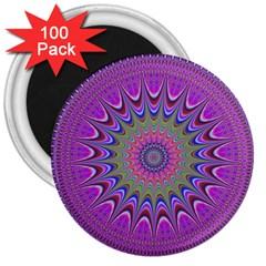 Art Mandala Design Ornament Flower 3  Magnets (100 Pack)