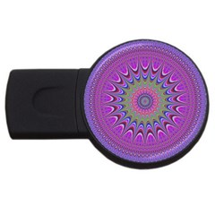 Art Mandala Design Ornament Flower Usb Flash Drive Round (4 Gb)