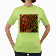 Carpet Orient Pattern Women s Green T Shirt