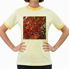Carpet Orient Pattern Women s Fitted Ringer T Shirts