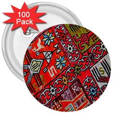 Carpet Orient Pattern 3  Buttons (100 Pack)