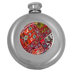 Carpet Orient Pattern Round Hip Flask (5 Oz)