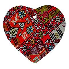 Carpet Orient Pattern Heart Ornament (two Sides)