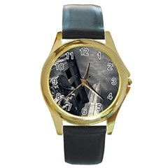 Chicago Skyline Tall Buildings Round Gold Metal Watch