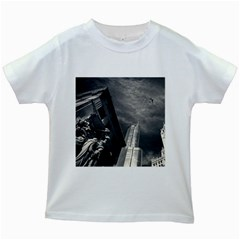 Chicago Skyline Tall Buildings Kids White T Shirts