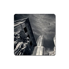 Chicago Skyline Tall Buildings Square Magnet