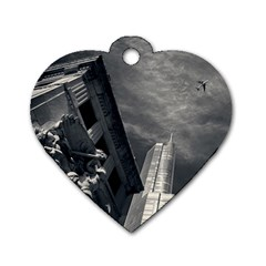 Chicago Skyline Tall Buildings Dog Tag Heart (two Sides)