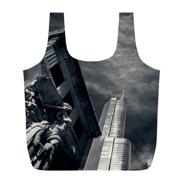 Chicago Skyline Tall Buildings Full Print Recycle Bags (L)