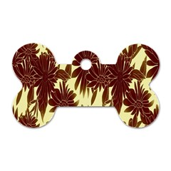 Floral Pattern Background Dog Tag Bone (one Side)