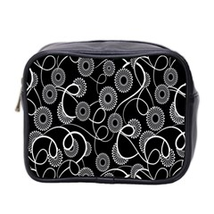 Floral Pattern Background Mini Toiletries Bag 2 Side