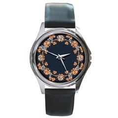 Floral Vintage Royal Frame Pattern Round Metal Watch