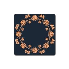 Floral Vintage Royal Frame Pattern Square Magnet