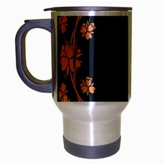 Floral Vintage Royal Frame Pattern Travel Mug (silver Gray)