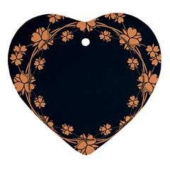 Floral Vintage Royal Frame Pattern Heart Ornament (two Sides)
