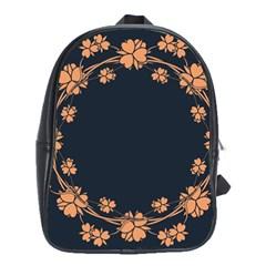 Floral Vintage Royal Frame Pattern School Bag (large)