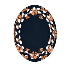 Floral Vintage Royal Frame Pattern Oval Filigree Ornament (two Sides)
