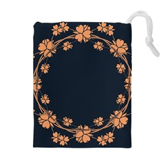Floral Vintage Royal Frame Pattern Drawstring Pouches (extra Large)