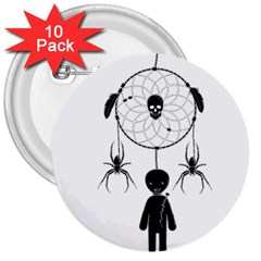 Voodoo Dream Catcher  3  Buttons (10 Pack)