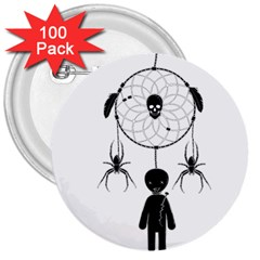 Voodoo Dream Catcher  3  Buttons (100 Pack)