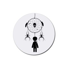 Voodoo Dream Catcher  Rubber Coaster (round)