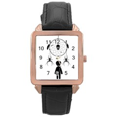Voodoo Dream Catcher  Rose Gold Leather Watch