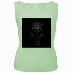 Voodoo Dream Catcher  Women s Green Tank Top