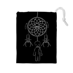 Voodoo Dream Catcher  Drawstring Pouches (large)