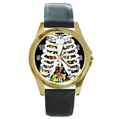 Trick Or Treat  Round Gold Metal Watch