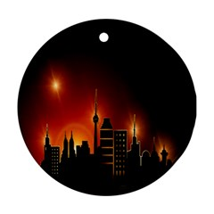 Gold Golden Skyline Skyscraper Ornament (round)
