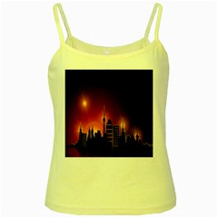 Gold Golden Skyline Skyscraper Yellow Spaghetti Tank