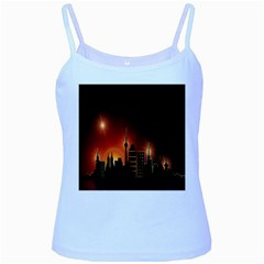 Gold Golden Skyline Skyscraper Baby Blue Spaghetti Tank