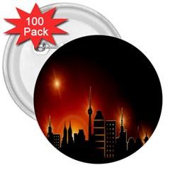 Gold Golden Skyline Skyscraper 3  Buttons (100 Pack)