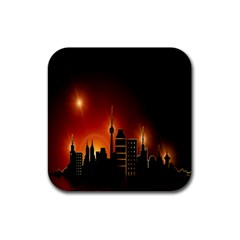 Gold Golden Skyline Skyscraper Rubber Square Coaster (4 Pack)