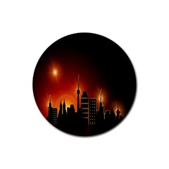Gold Golden Skyline Skyscraper Rubber Round Coaster (4 Pack)