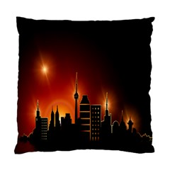 Gold Golden Skyline Skyscraper Standard Cushion Case (two Sides)