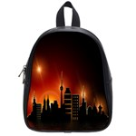 Gold Golden Skyline Skyscraper School Bag (Small) Front