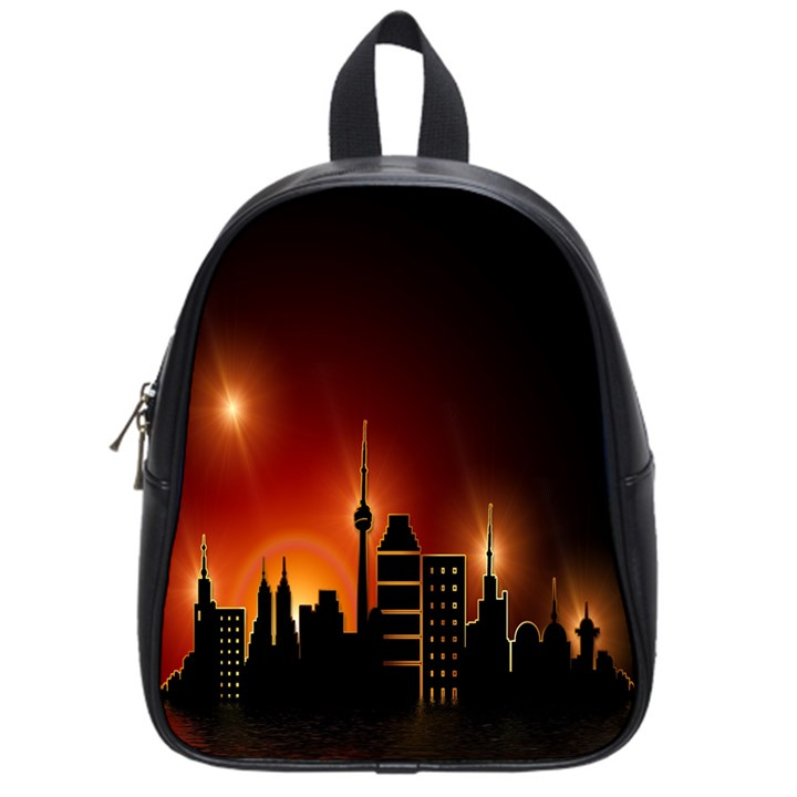 Gold Golden Skyline Skyscraper School Bag (Small)