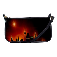 Gold Golden Skyline Skyscraper Shoulder Clutch Bags